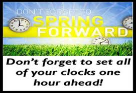 Reminder to set your clocks ahead one hour